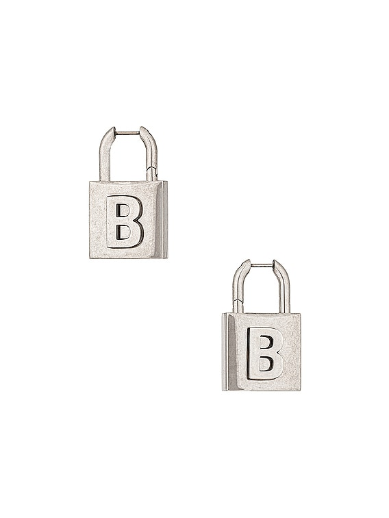 Lock Earrings in Antique Silver
