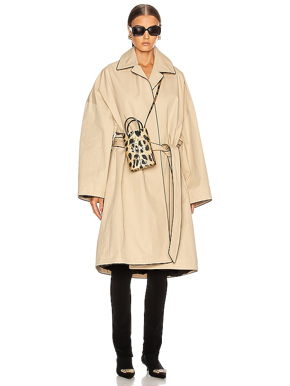 Short Cocoon Coat in Creme