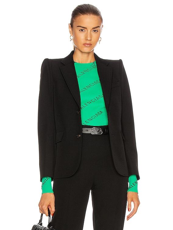 Curved Shoulder Jacket in Black