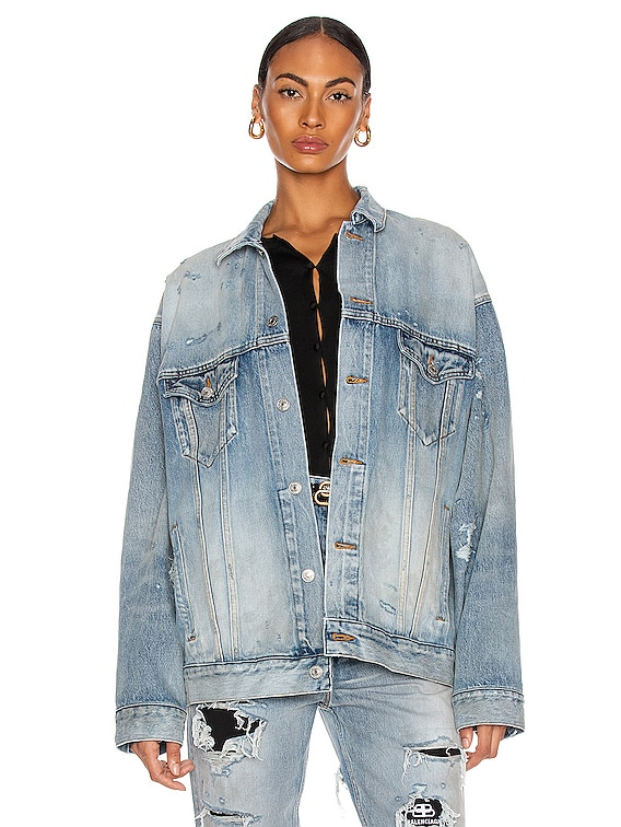 Ripped Jacket in Dirty Light Vintage Blue