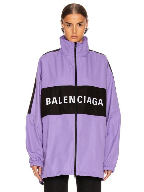 Balenciaga Zip Up Logo Jacket in Light