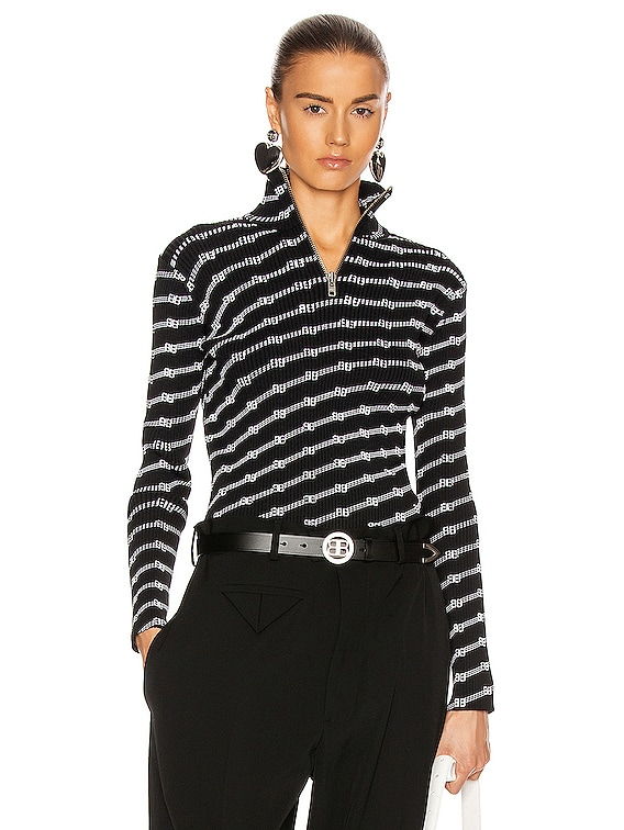 Long Sleeve Zipped Rollneck Top in Black & White