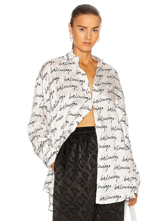 Printed Blouse in White & Black