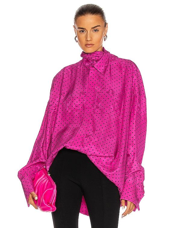 Fluid Scarf Tuxedo Top in Pink & Black