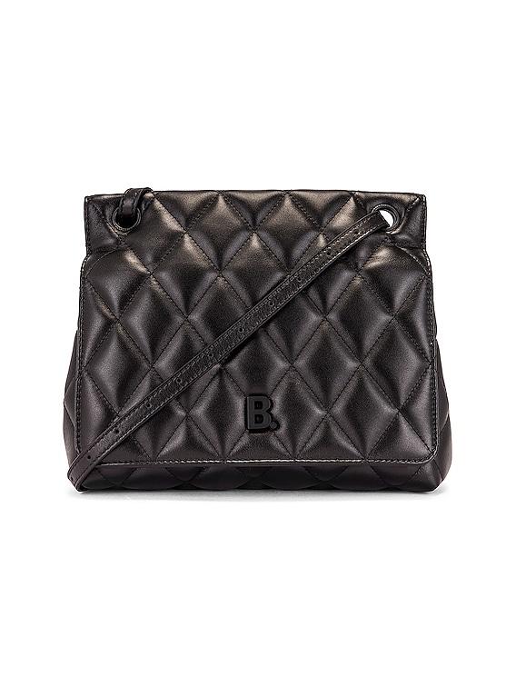 Medium Quilted Leather B Shoulder Bag in Black