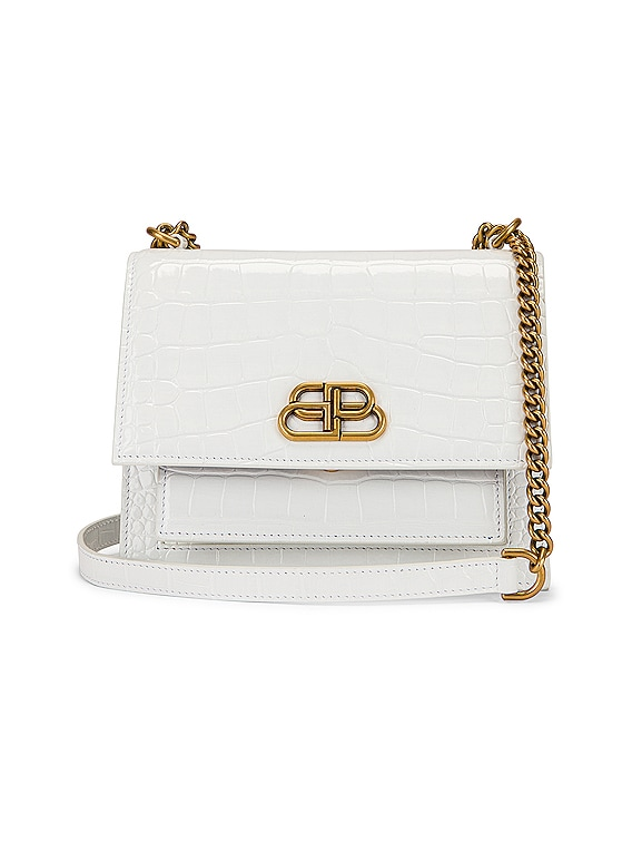 Small Embossed Croc Sharp Chain Bag in Optic White