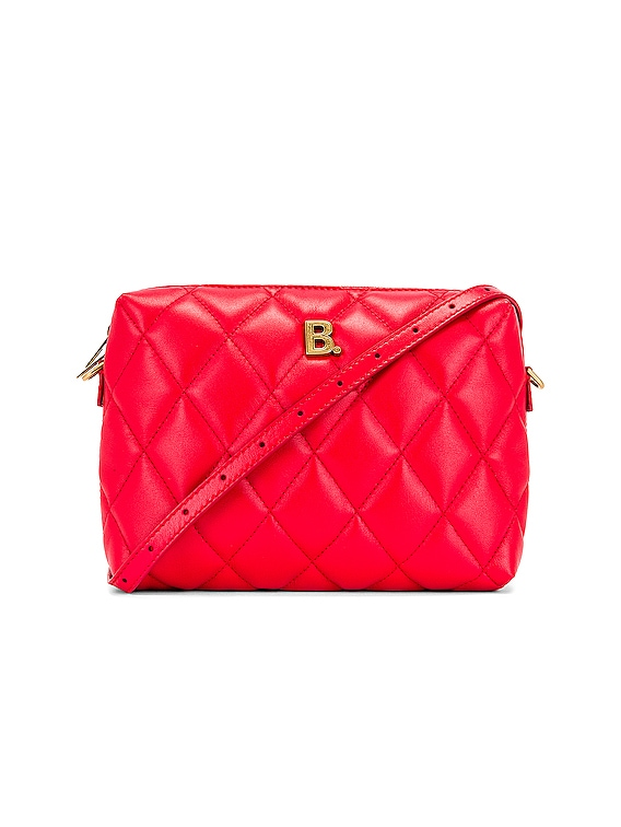 B Quilted Leather Camera Bag in Bright Red