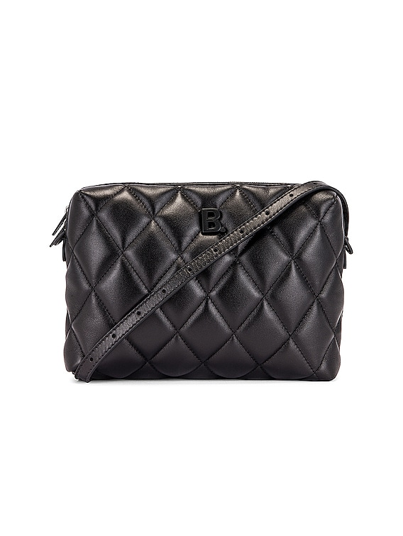 B Quilted Leather Camera Bag in Black