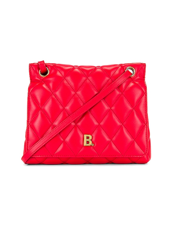 Medium Quilted Leather B Shoulder Bag in Bright Red