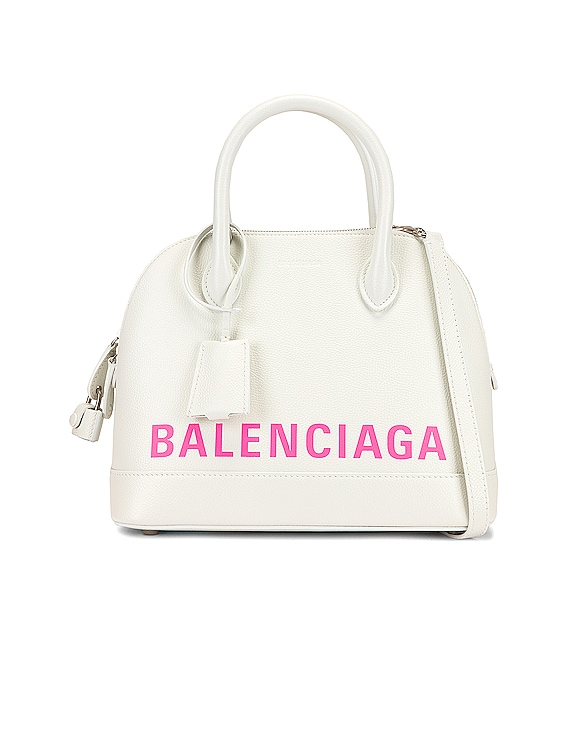 Small Logo Ville Top Handle Bag in White & Fluo Pink