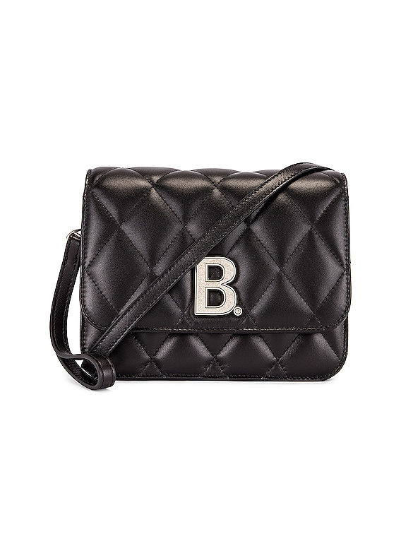 Small Quilted Leather B Bag in Black