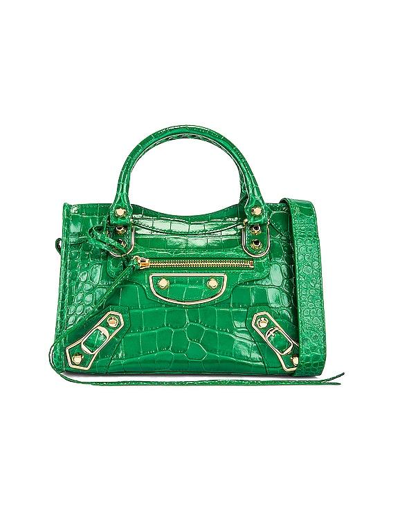 Metallic Mini City Bag in Leaf Green
