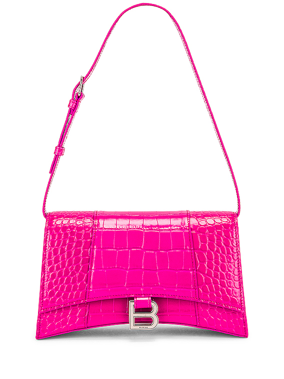 Hourglass Baguette with Strap in Fuchsia