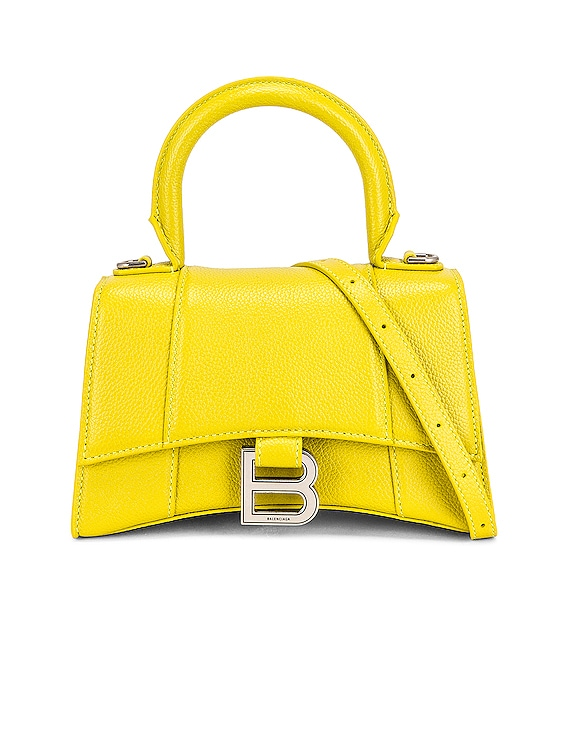 XS Hourglass Top Handle Bag in Lime