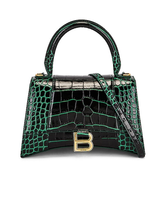 Small Hourlgass Top Handle Bag in Forest Green