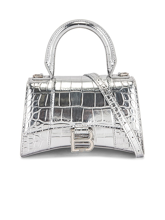 XS Embossed Croc Hourglass Top Handle Bag in Silver