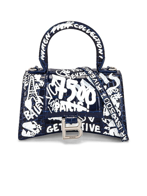 XS Hourglass Top Handle Bag in Navy & White