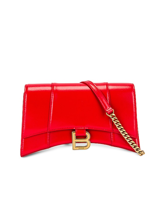 Hourglass Evening Chain Bag in Bright Red