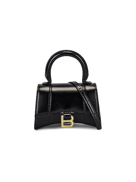 Mini Hourglass Top Handle Bag in Black