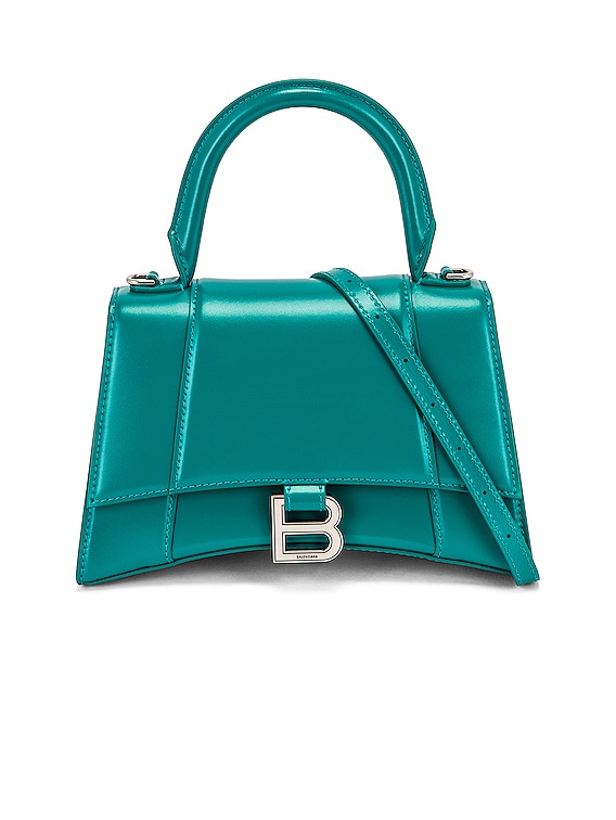 Small Hourglass Top Handle Bag in Dark Turquoise
