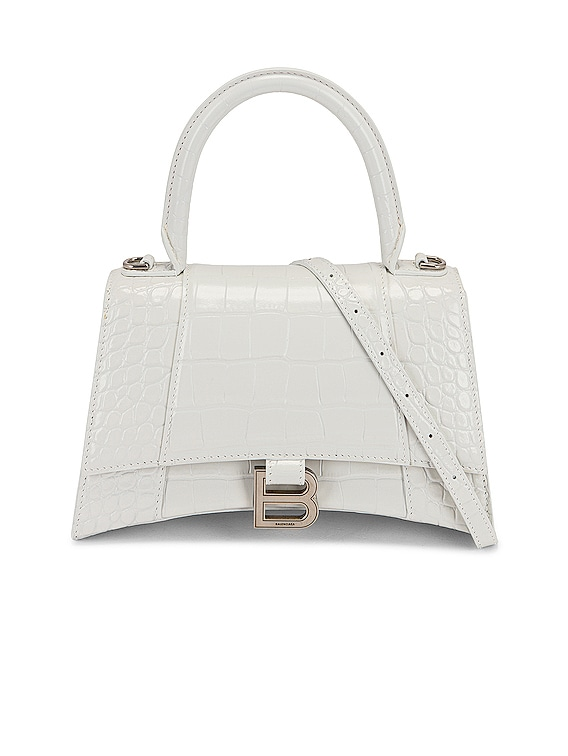 Small Hourglass Top Handle Bag in White