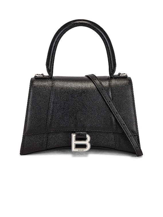 Small Hourglass Top Handle Bag in Black