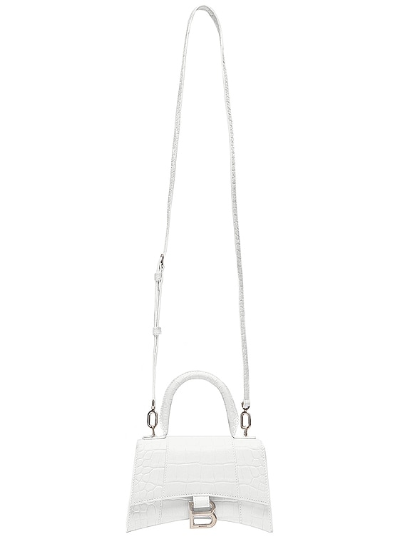 XS Hourglass Top Handle Bag in White