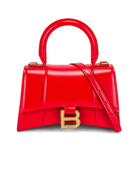 XS Hourglass Top Handle Bag in Bright Red