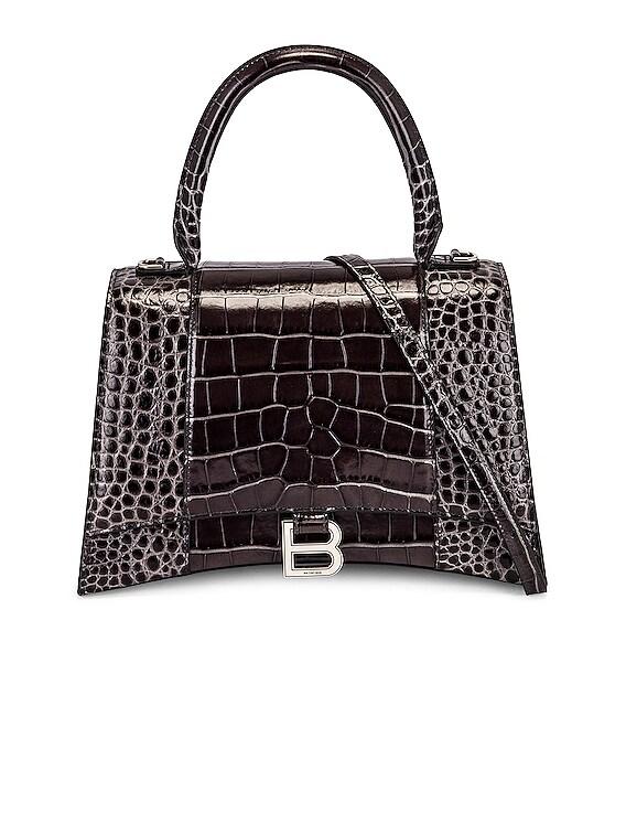 Medium Hourglass Top Handle Bag in Dark Grey