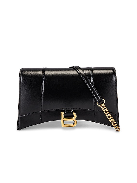 Hourglass Evening Chain Bag in Black