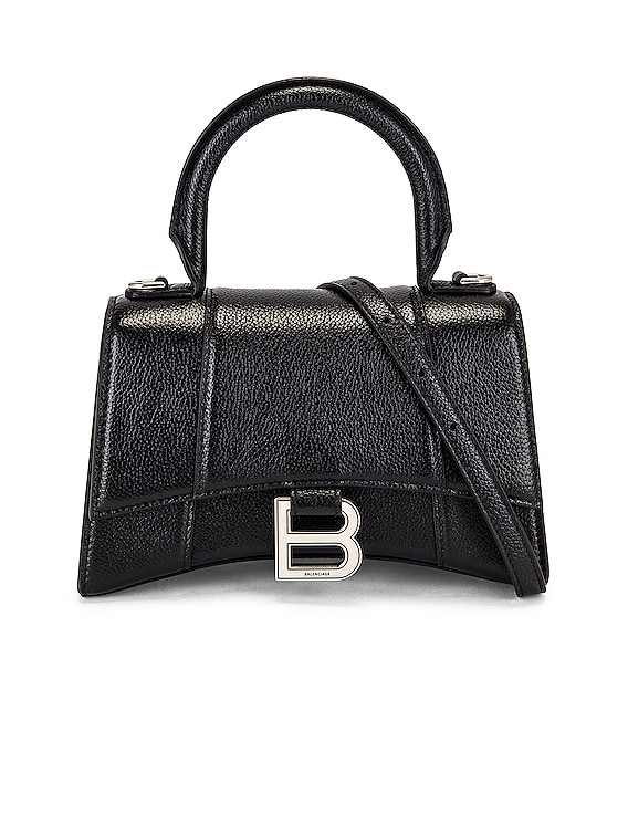 XS Hourglass Top Handle Bag in Black