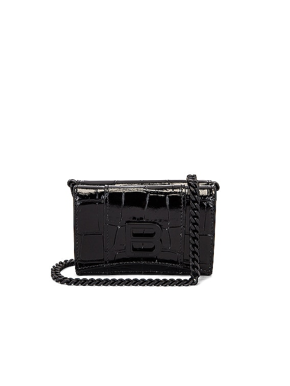 Mini Hourglass Wallet on Chain Bag in Black