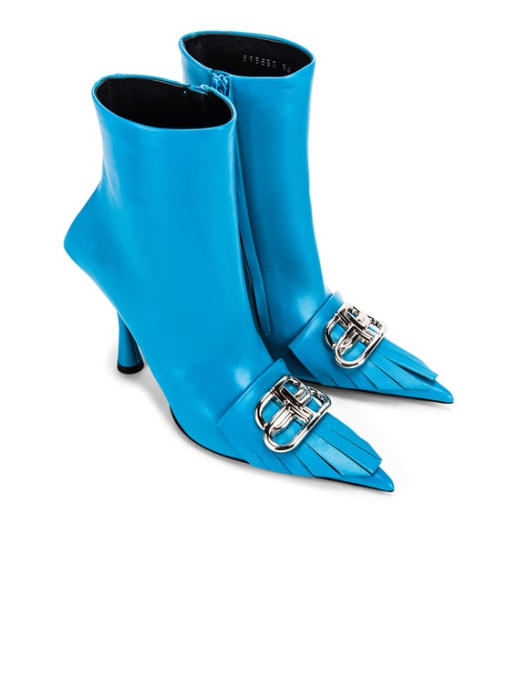 Fringe Knife Booties in Turquoise & Silver