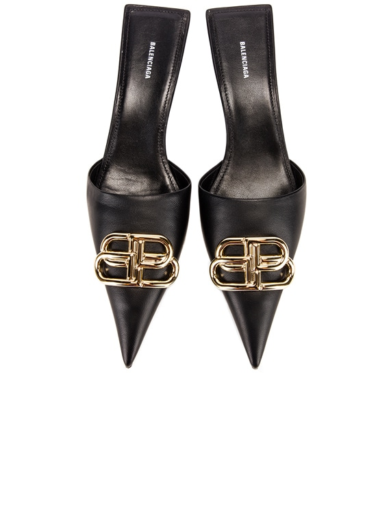 Square Knife BB Kitten Heels in Black & Gold