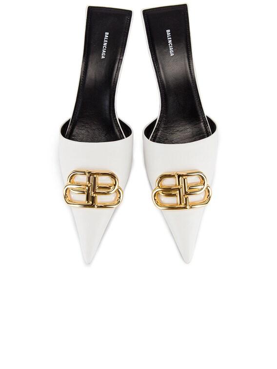 Square Knife BB Kitten Heels in White & Gold