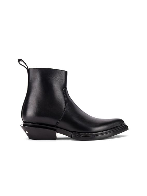 Santiag Leather Booties in Black