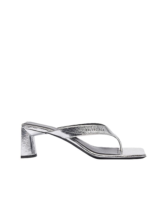 Double Square Sandals in Silver & Black