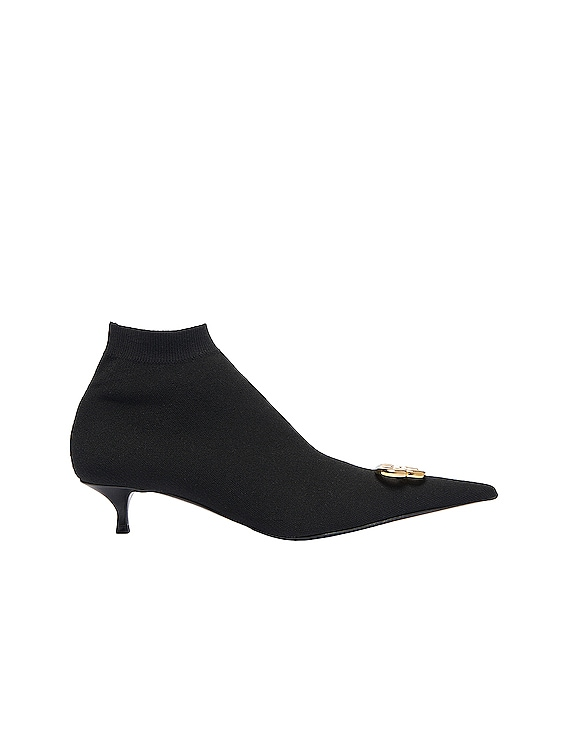BB Knife Knit Booties in Black & Gold