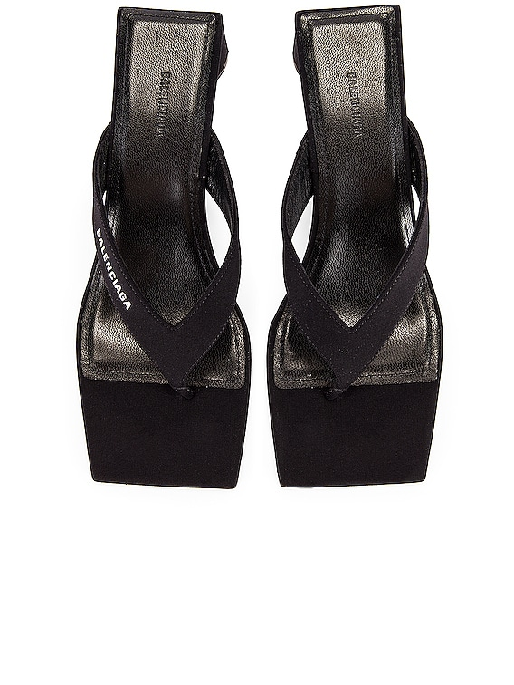 Logo Double Square Sandals in Black & White