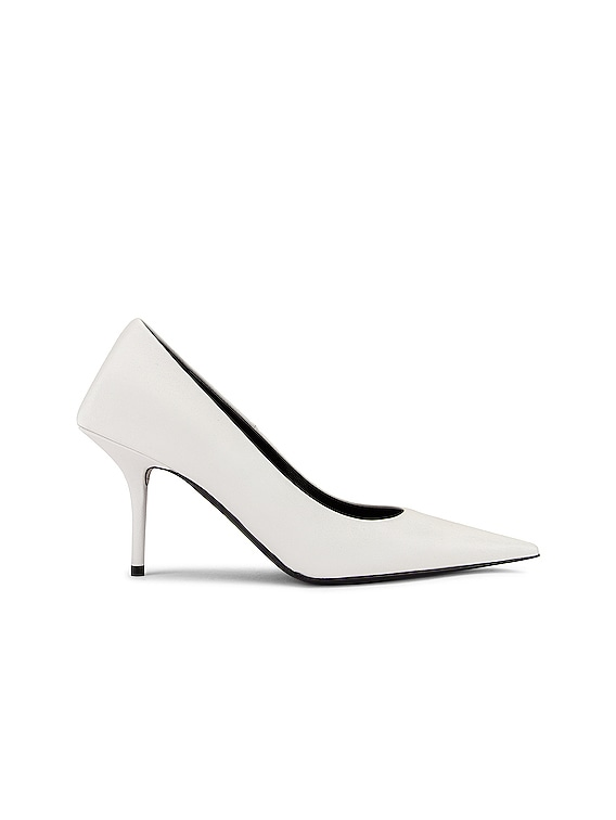 Square Knife Pumps in White