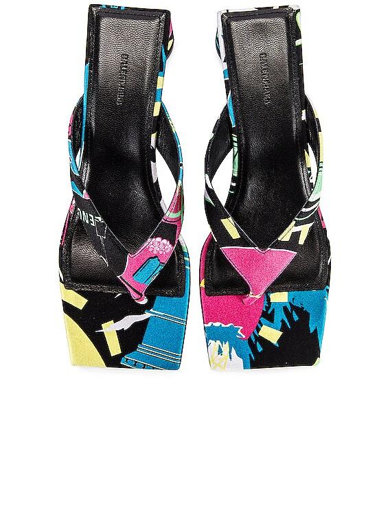 Paris Double Square Sandals in Black & Pink & Blue