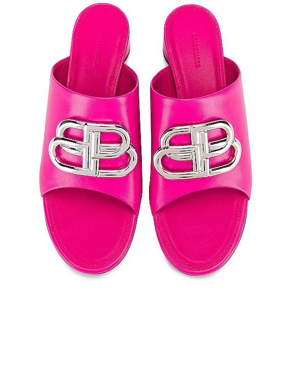 Oval BB Sandals in Pink & Nickel