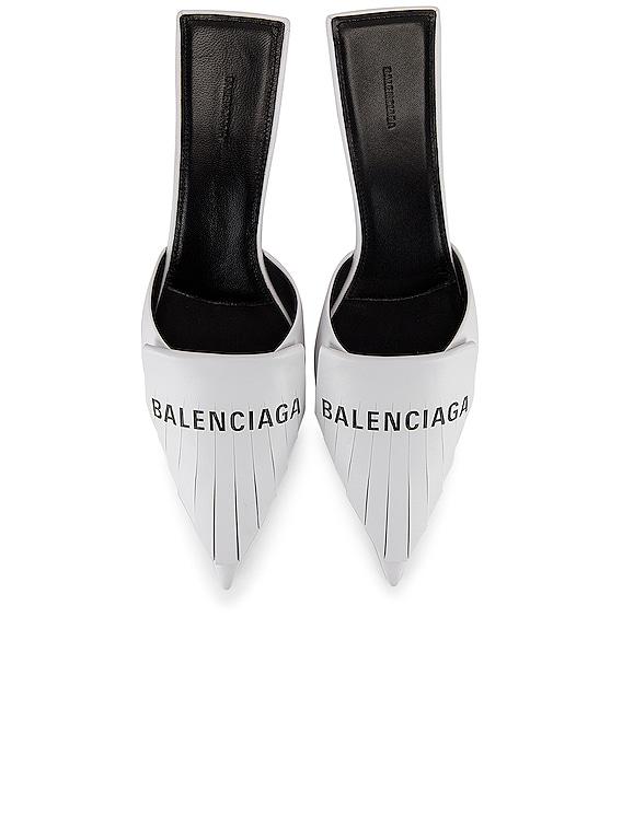 Logo Fringe Knife Kitten Heel Mules in White & Black