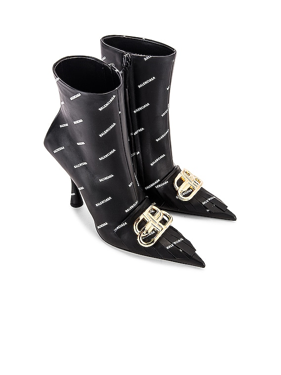 Logo BB Fringe Knife Boots in Black & White & Gold