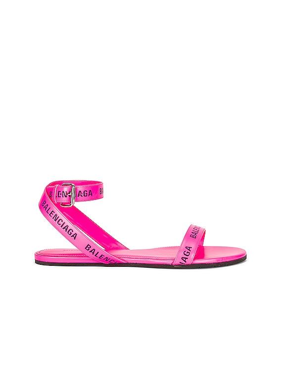 Balenciaga Round Flat Sandals in Neon