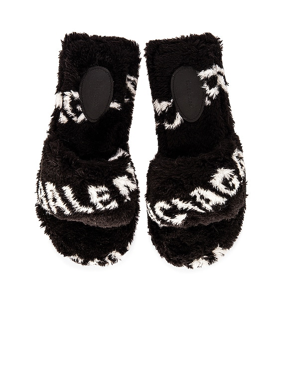 Fluffy Sandals in Black & White