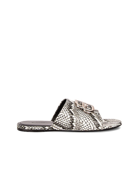 Oval BB Sandals in White & Black & Silver