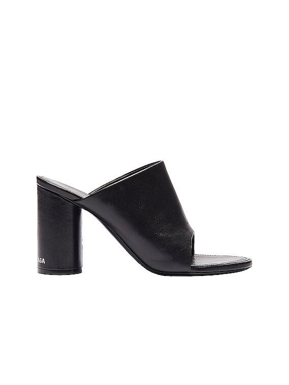 Oval Open Toe Mules in Black & White