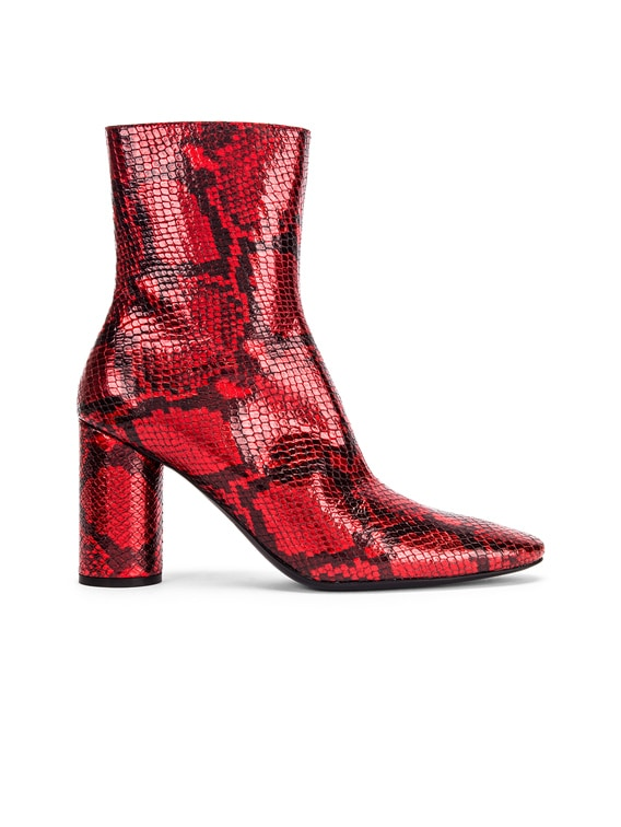 Oval Snake Booties in Red