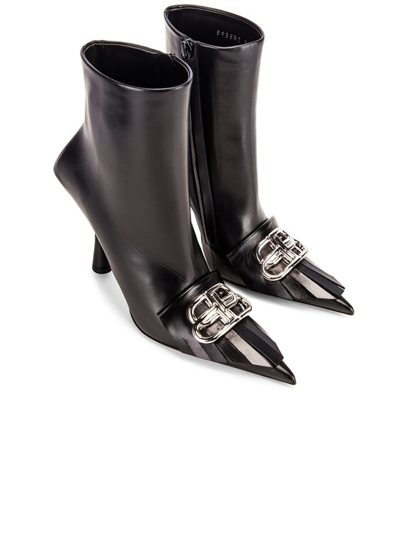 Fringe Knife Booties in Black & Silver